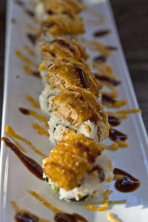 Salmon Katsu Sushi Roll with Mayonnaise and Unagi Sauce 2