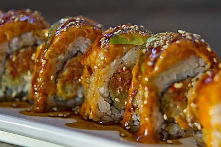 Sushi Roll with Unagi Avocado Sesame Seed and Sweet Sauce