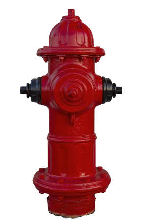 Red Fire Hydrant in New Construction Site on White Background Stock Photo