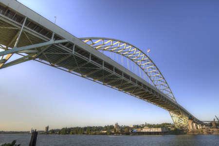 Fremont Bridge over Willamette River in Portland Oregon photo