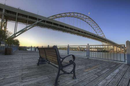 willamette: Park Bench under the Fremont Bridge along Willamette River Portland Oregon