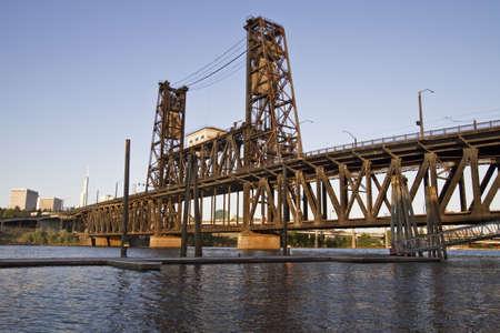 Steel Bridge Portland Oregon from the Marina Stock Photo - 7505484