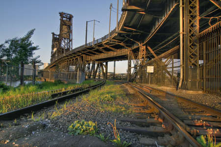 Train tracks on Steel Bridge over Willamette River Stock Photo - 7505480