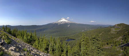 Mount Hood and Mirror Lake in National Scenic Area Oregon Panorama Stock Photo - 7505490