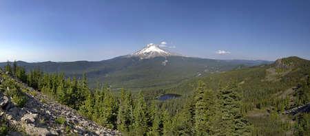 Mount Hood and Mirror Lake in National Scenic Area Oregon Panorama Stock Photo - 7505490