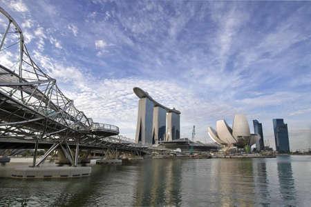 Singapore Skyline with Helix Bridge over River Stock Photo - 7795485