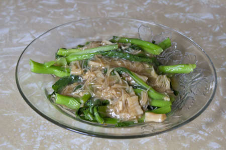 Chinese Green Vegetable with Dried Scallops Sauce 2 Stock Photo