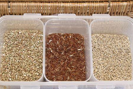 Organic Grains Display with Brown Rice Barley and Wheat