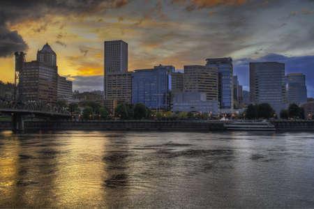eastbank: Dramatic Sunset Sky Over Portland Oregon Skyline 2