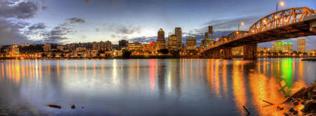 portland: Portland Oregon Downtown Skyline at Night Panorama 2 Stock Photo