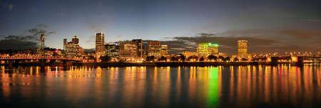 eastbank: Portland Oregon Downtown Skyline at Night Panorama Stock Photo