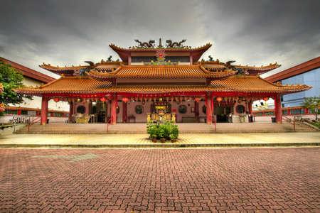 taoisme: Chinese Taoïstische tempel geplaveid plein in Singapore