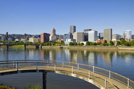 Portland Oregon Downtown Skyline by Willamette River Reflection 4 Stock Photo