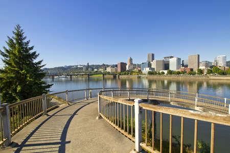 eastbank: Spiral Walkway to Eastbank Esplanade from Morrison Bridge Portland Oregon Stock Photo