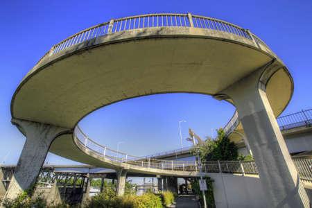 eastbank: Spiral Walkway to Eastbank Esplanade from Morrison Bridge