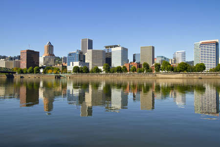 Portland Oregon Downtown Skyline by Willamette River Reflection Stock Photo