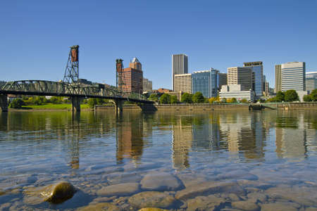 Portland Oregon Downtown Skyline and Hawthorne Bridge Reflection 2 Stock Photo