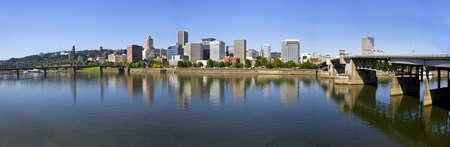 willamette: Portland Oregon Downtown Skyline and Bridges Reflection Panorama 3