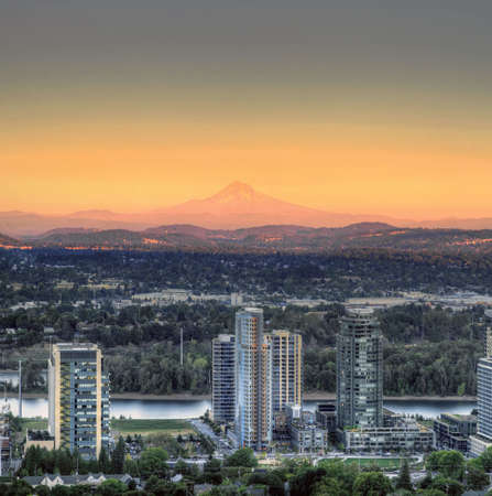 portland: Sunset on Mount Hood and South Waterfront