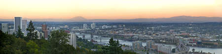 Portland Oregon along Willamette River at Sunset Panorama photo