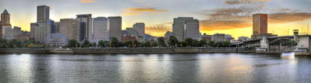 Sunset over Portland Oregon Downtown Skyline along Willamette River Stock Photo - 7898519