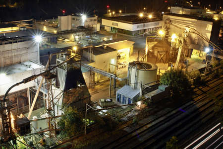 wood railway: Lumber Paper Mill in Oregon City at Night 2 Stock Photo