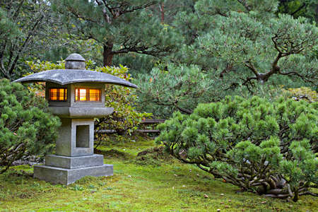 portland: Stone Lantern at Portland Japanese Garden Lit at Dawn