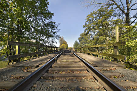 linn: Railroad Track Bridge Over Thomas Creek Oregon Stock Photo