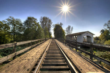 linn: Railroad Track Bridge Over Thomas Creek Oregon 2 Stock Photo