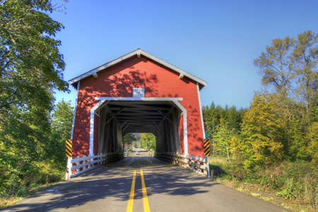 louvered: Shimanek Red Covered Bridge over Thomas Creek Oregon 2