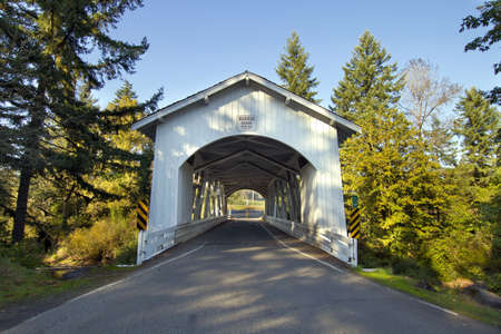 river county: Hannah Covered Bridge over Thomas Creek Oregon