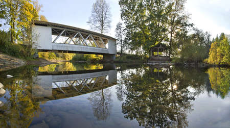 linn: Hannah Covered Bridge over Thomas Creek Oregon Panorama