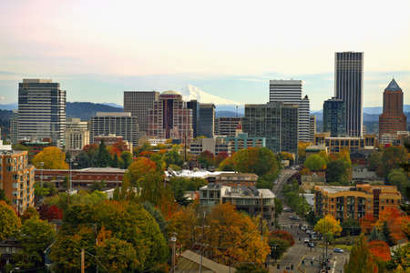 Portland Oregon Downtown Cityscape in the Fall
