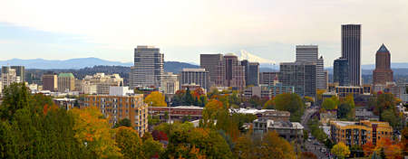 Portland Oregon Downtown Cityscape in the Fall Panorama photo