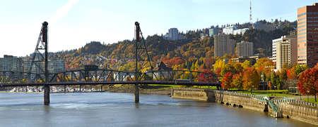 willamette: Hawthorne Bridge Over Willamette River in the Fall