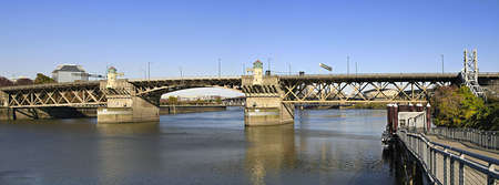 Burnside Bridge Over Willamette River Portland Oregon Panorama Stock Photo - 8152823