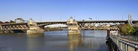 eastbank: Burnside Bridge Over Willamette River Portland Oregon Panorama Stock Photo