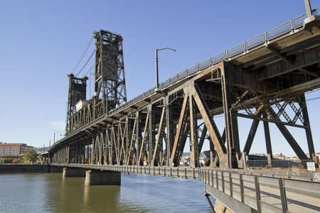 portland: Steel Bridge over Willamette River in Portland Oregon 2 Stock Photo