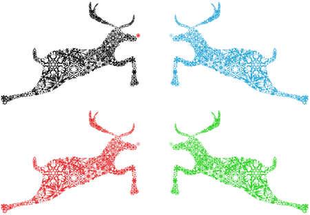 Four Christmas Season Reindeer Black Red Blue Green Snowflakes Illustration Stock Illustration - 8211778