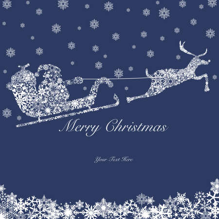 greeting: Santa on Sleigh with Reindeers and Snowflakes White on Red Background 2