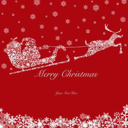 Santa on Sleigh with Reindeers and Snowflakes White on Red Background 2 photo