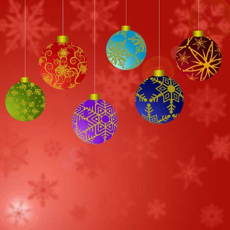 Colgando de los adornos navideños con copos de nieve con fondo rojo  Foto de archivo - 8211774