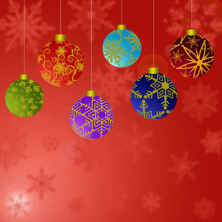 greeting card background: Hanging Christmas Ornaments with Snowflakes with Red Background