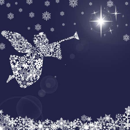 クリスマスの天使トランペットと雪片青い背景 写真素材