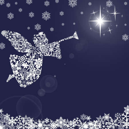 Christmas Angel with Trumpet and Snowflakes Blue Background