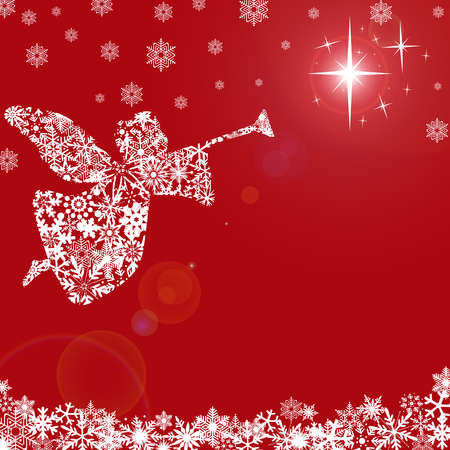 Christmas Angel with Trumpet and Snowflakes Red Background Archivio Fotografico