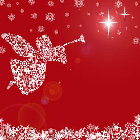 Kerst engel met trompet en sneeuw rode achtergrond  Stockfoto