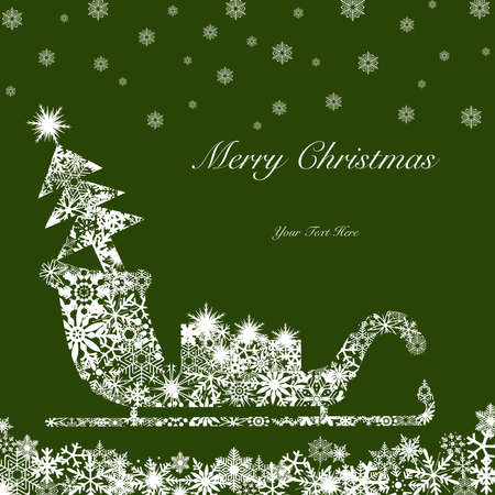 Christmas Santa Sleigh with Tree and Presents White on Green Background
