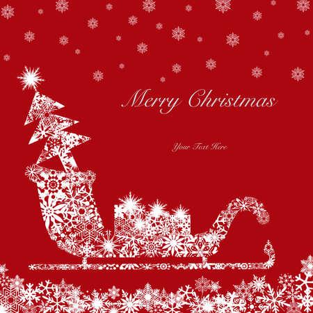 크리스마스 산타 썰매 나무와 빨간색 배경에 흰색 선물 스톡 콘텐츠