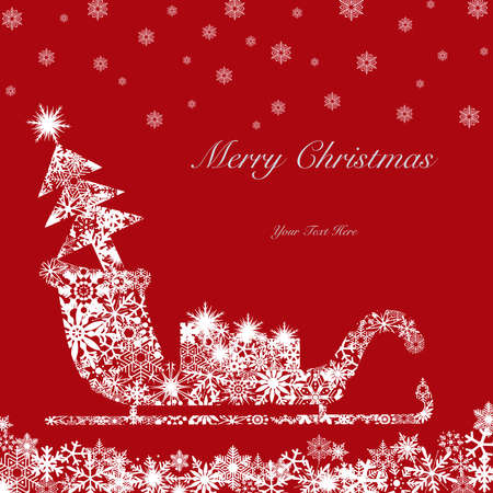 Christmas Santa Sleigh with Tree and Presents White on Red Background